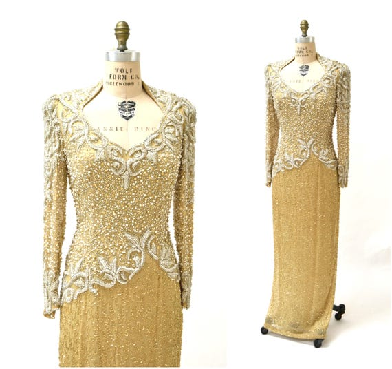 Vintage Metallic Sequin Gown Size Large Cream Gold Silver