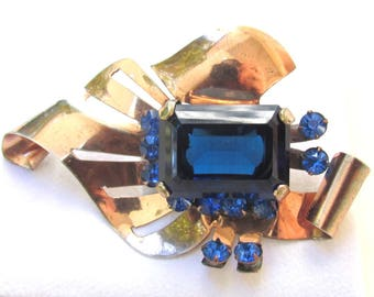 Vintage LARGE Gilded Sterling Silver Brooch with Jumbo Blue Rhinestones 1940s-1950s