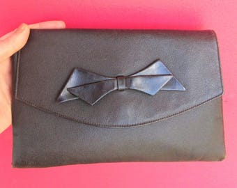 Vintage 1920s ART DECO Black Leather Clutch Purse with Bow ANTIQUE Evening Bag