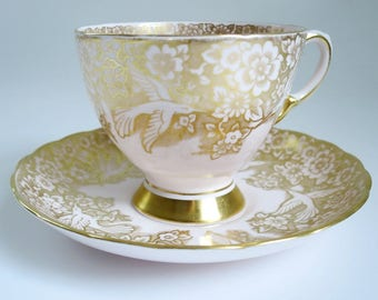 Vintage Tea Cup and Saucer, English Bone China Tea Cup Set, Teacup and Saucer,  Pink Cup Saucer w Gold Birds, Bone China Teacup Saucer