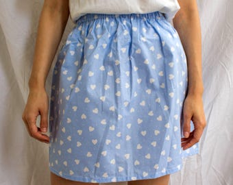 the Zooey -skirt (light blue heart polka dot one size cotton print mini skirt with elastic waist UK 6-10)