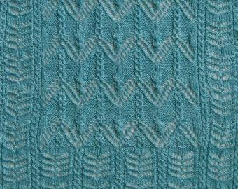 Knit Shawl Pattern:  Katori Cable Lace Shawl Knitting Pattern