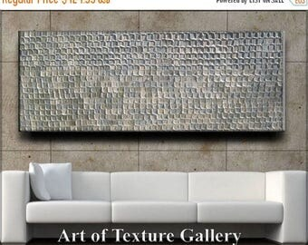 SALE HUGE Abstract Textured Painting 70 x 30 Custom Original Heavy Metallics White Neutral Beige Gray Slate Silver Oil by Je Hlobik