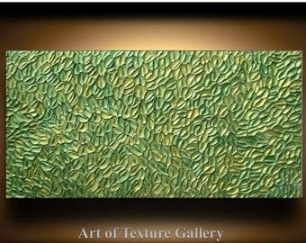 SALE Abstract Texture Painting 48 x 24 Original Modern Green Sage Metallic Knife Sculpture Impasto Oil by Je Hlobik