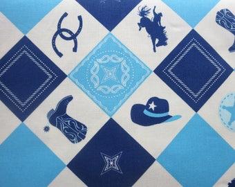 Riley Blake Cowboy Main Blue Fabric  C5630 - 5.99 A Yard