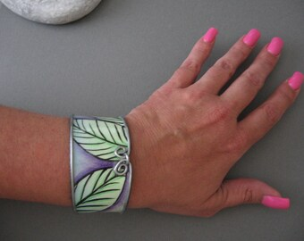 watercolor cuff bracelet - paper jewelry - cuff bracelet- ladies bracelet - watercolor jewelry- steel cuff bracelet