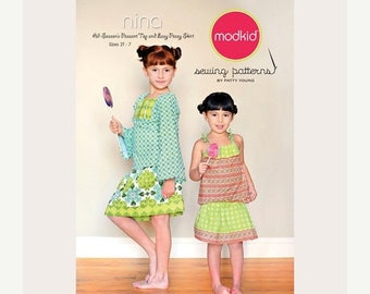 SALE 10% Off - Modkid Sewing Pattern by Patty Young - NINA - All-seasons Peasant Top and Easy-Peasy Skirt - Girls Sewing Pattern