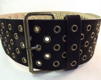 Black Grommet Belt, Wide Black Belt, Multi Triple Hole Belt, Womens Wide Black Belt, Black Suede Belt, Medium Size Belt, Vintage Hole Belt