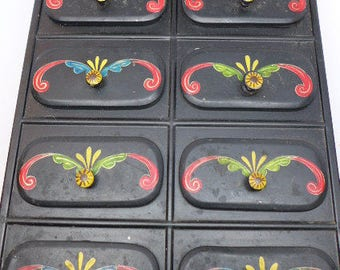 Vintage Hand Painted Tin Space Drawers