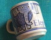 Vintage Childs Blue Elephant Mug Made in England- funny coffee mug, elephant mug, novelty mug,baby mug, baby cup, elephant mug