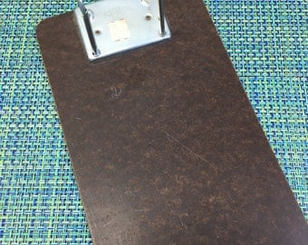 "Vintage Stempco Dallas TX Wood File Receipt Holder Clipboard Two Hole Metal Loop 7"" x 12""- vintage clipboard, wood receipt holder, desktop"