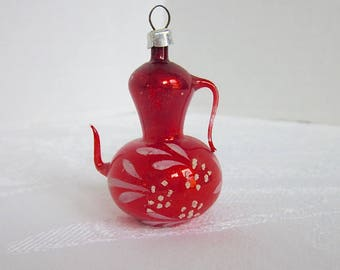 Vintage Christmas Ornament Red Glass Teapot Handblown glass