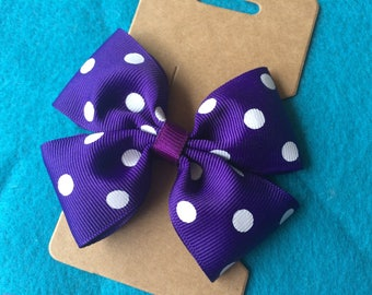 Double Loop Bright Purple and White Polka Dot Ribbon Hair Bow Clip