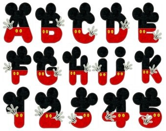 MOUSE Alphabet & Numbers - Machine Applique Embroidery - Instant Digital Download
