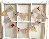 Happy Birthday Banner, Birthday Banner, Burlap Birthday Banner, Birthday Bunting, Birthday Party, Happy Birthday Bunting, Mini Burlap Banner