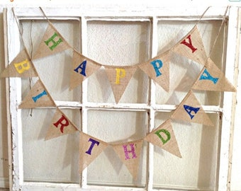 Happy Birthday Banner, Birthday Banner, Burlap Birthday Banner, Birthday Bunting, Birthday Party, Happy Birthday Bunting, Mini Burlap Banner