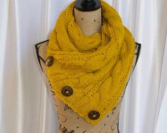 Boston Harbor Scarf Chunky Women Scarf Boston Scarf Yellow Mustard Knitted Buttoned Up Scarf Women Scarf Christmas Gift under 50