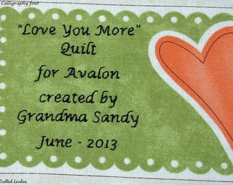 Quilt Label - Shy Heart, Custom Made & Hand Embroidered