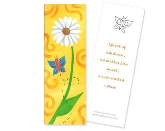 Daisy and Butterfly Bookmark - Kindness Quote