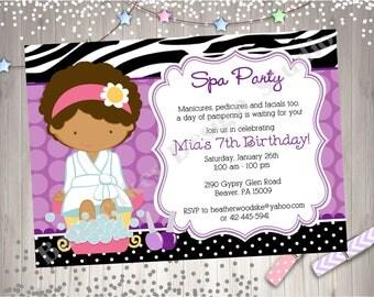 Spa Party invitation invite spa birthday  party invitation invite spa day African American purple diy printable