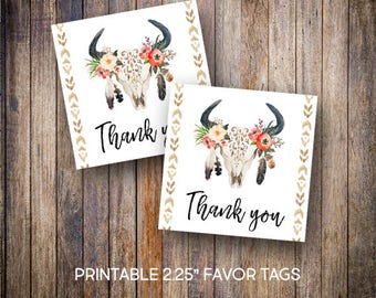 """Antler Favor Tags, 2.25"""" Square Tags, Rustic, Thank You Tags, Bridal Shower, Watercolor Cactus Tags, Digital Download, Printable Tags, 910"""
