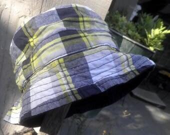 Baby Boy Bucket hat, 2 in 1 reversible PLAID