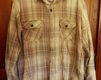 100% Thick COTTON Flannel Shirt, plaid flannel, browns, Men's 1x-2x