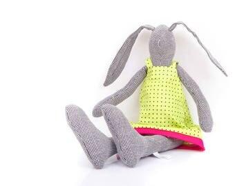 Houndstooth softie rabbit doll , Plushie Softie doll , stuffed bunny doll , Cuddling bunny , popular stuffed toys , handmade soft animals
