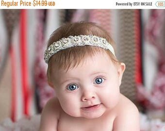 12% off Rhinestone pearl flowers headband Baby headband, newborn headband, adult headband, child headband and photography prop,Vintage and e
