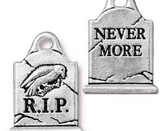 Halloween Tombstone, Raven, Nevermore, Charm, Qty:1