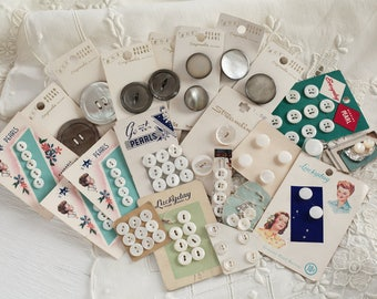Vintage Mother of Pearl Buttons - 80 White and Smoky Shell Buttons on 22 Cards