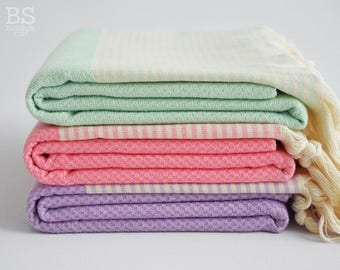 NEW / SALE 50 OFF/ BathStyle / Mint Green - Pink - Purple / Turkish Beach Bath Towel / Wedding Gift, Spa, Swim, Pool Towels and Pareo