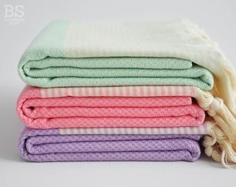 NEW / SALE 50 OFF/ BathStyle / Mint Green - Pink - Purple / Turkish Beach Bath Towel / Wedding Gift, Spa, Swim, Pool Towels and Pareo
