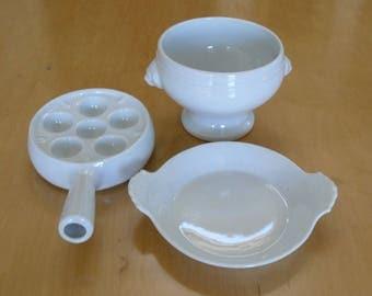 Apilco White Porcelain Lion's Head Soup Bowl, Au Gratin, Escargot Baking Serving Dish Made in France