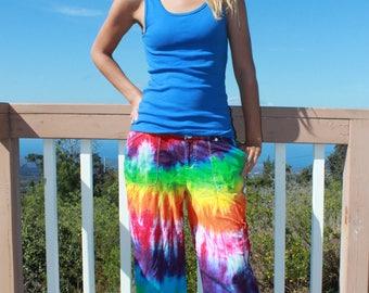 Tie Dye Capri Pants Women's Size 8 upcycled