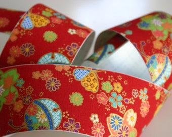 Sakura and Temari Balls in Red - Japanese print cotton Fabric Sticker/Tape (1 tape = 5 cm x 1m)