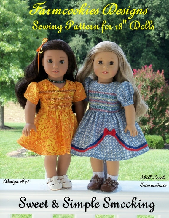 "18"" American Girl® Size Printed Sewing Pattern: SWEET and SIMPLE SMOCKING /Pattern Fits   American Girl ®  or Other 18"" Dolls"