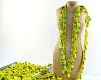 Vintage Tassel Trim Green and Yellow Conso (14 yards total)