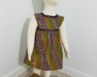 African Print girls' sundress with brown trim- burnt orange (size: 6-12 months)