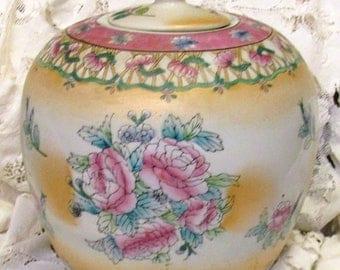 Summer Sale Stunning Antique Vintage Made In China Pink Gold Blue Porcelain Floral Ginger Jar Asian Decorative Home Decor