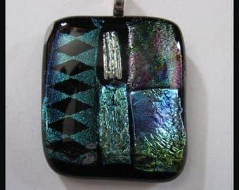 Genuine Handmade Dichroic Glass Fused Pendant Large