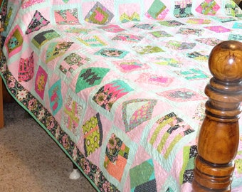 Queen Size or King Size Tula Pink City Sampler Modern Patchwork Quilt