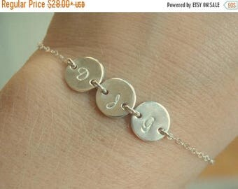SALE - Three Disc Personalized Initial Bracelet, Tiny Initial Disc Solid Sterling Silver Bracelet,  Mother Sister Friend Bracelet, Family Je