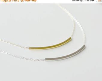 SALE - Simple Gold or Silver Necklace, Dainty Necklace, Curved Bar Necklace, Tube Necklace, Everyday necklace, Perfect Layering Necklace