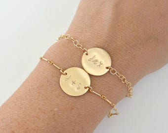 SALE - GOLD Name Bracelet, Personalized Initial Disc Gold Bracelet, Bridesmaid Gift Idea, Name ID Bracelet, Link Bracelet, Custom Gold Brace