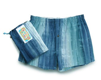 Mens Blue Boxers, Hipster Underwear, Mens Boxers, Batik Boxer Underwear, Blue Batik Boxer Shorts