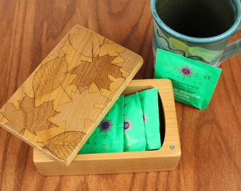 Leaves Pattern, Wooden Storage Box 5-3/8 x 3-3/8, Solid Cherry - Laser Engraved, Paul Szewc, Masterpiece Gallery