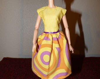 Colorful modest dress in yellow & purple for Fashion Dolls - ed1023