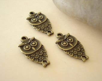 100 Wholesale Bulk Antiqued Bronze OWLCharms Pendant Drops (Two Side) SB227b