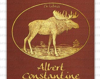 Moose - Golden  -  ADHESIVE backed - Personalized Bookplate -wildlife, Book lovers, Great Gift
